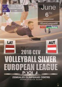 Eiropas Līgas volejbola spēle vīriešiem Latvija – Austrija